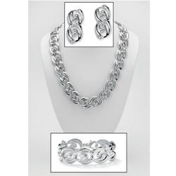 Silvertone Metal Necklace, Bracelet and Pierced Earring Set