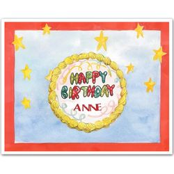 Personalized Birthday Cake Art Print