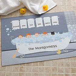 Personalized Bathtub Family Characters Bath Mat