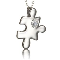 Sterling Silver CZ Heart Autism Puzzle Necklace