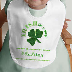 Personalized Irish For A Day St. Patrick's Baby Bib