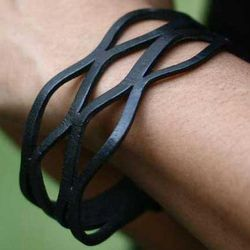 Midnight Dancer Leather Wristband Bracelet