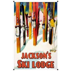 Personalized Ski Lodge Metal Sign