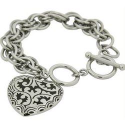 Bali Style Black Enamel Heart Link Stainless Steel Bracelet