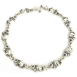 Sterling Silver Lucky Parade of Elephants Bracelet