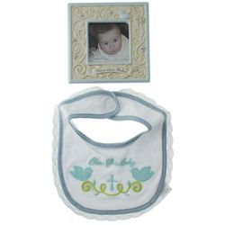Blue Bless This Baby Bib and Picture Frame