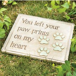 Paw Prints On My Heart Pet Memorial Garden Stepping Stone