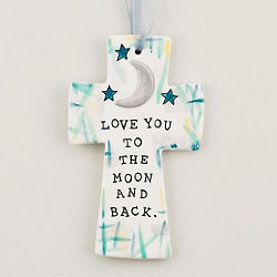 """To the Moon & Back 6"""" Ceramic Cross"""
