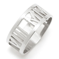 Personalized Roman Numeral Silver Cut Out Ring