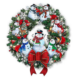 Snow-Kissed Holiday Cheer Illuminated Wreath