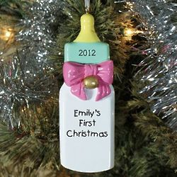 Personalized Girl Baby Bottle Christmas Ornament
