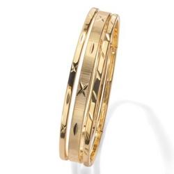 14k Gold-Plated Set of Three Patterned Bangle Bracelets
