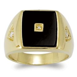 18K Gold Over Sterling Silver Black Onyx Diamond Accent Ring