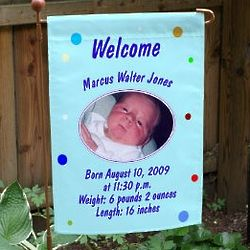 Newborn Baby Boy Announcement Garden Flag
