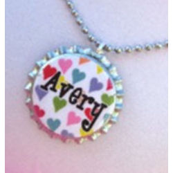 Personalized Rainbow Hearts Bottle Cap Necklace