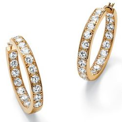 DiamonUltra Cubic Zirconia Inside-Out Hoop Pierced Earrings