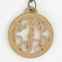 Large Filigree Cutout Monogram Initial Wood Pendant