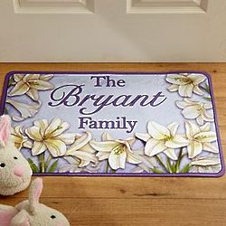 Easter Lily Personalized Family Doormat