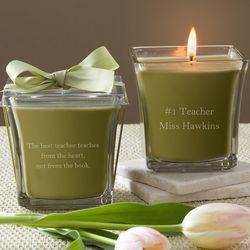 Personalized Papaya & Bamboo Teacher Candle