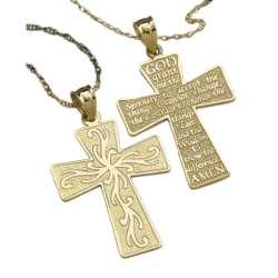 14K Gold Serenity Prayer Cross Necklace