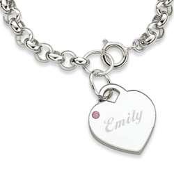 October Engraved Birthstone Heart Charm Bracelet