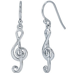 Sterling Silver Treble Clef Dangle Earrings