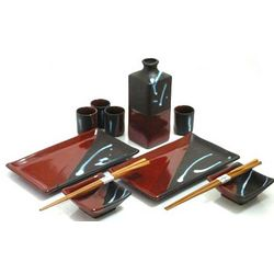 Saddle Brown Sushi and Sake Set