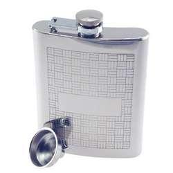 Engraved Parquet Squares Hip Flask