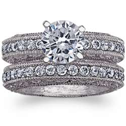 Vintage-Inspired CZ Solitaire Wedding Ring Set