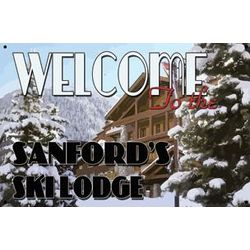 Personalized Welcome to the Ski Lodge Metal Sign