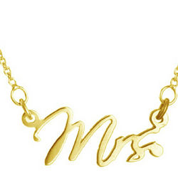 Gold Vermeil Just Married Mrs. Wedding Necklace
