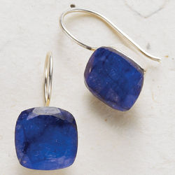 Rough-Cut Stone Solitaire Earrings