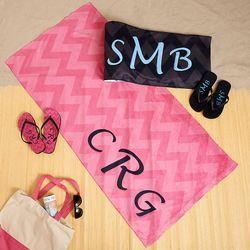 Personalized Chevron Monogram Flip-Flops and Beach Towel