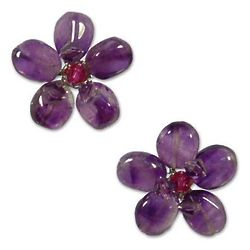 Peace Flower Amethyst Button Earrings