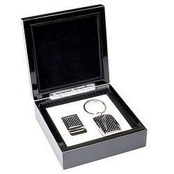 Black Carbon Fiber Look Keychain & Money Clip Gift Set
