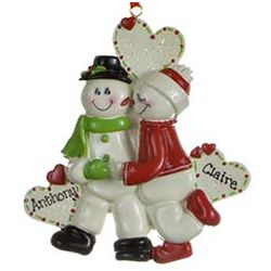 Snowman Sweethearts Personalized Christmas Ornament