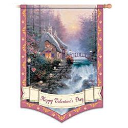Thomas Kinkade Happy Valentine's Day Decorative Flag