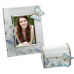Porcelain Rose with Butterfly Picture Frame and Keepsake Box Set