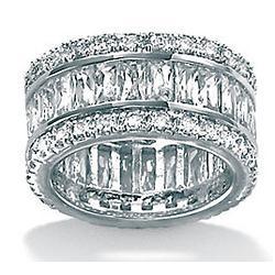 DiamonUltra Cubic Zirconia Platinum over Silver Eternity Ring
