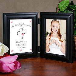 My 1st Holy Communion Black Bi-Fold Personalized Picture Frame
