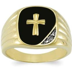 Mens 18K Gold-Plated Black Onyx Diamond Accent Cross Ring