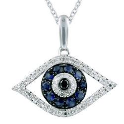 Gemma Sapphire and Diamond Evil Eye Pendant