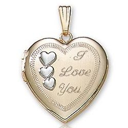 Triple Heart I Love You Two Tone Gold Locket