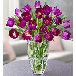 Marquis by Waterford Vase with 20 Purple Tulips Bouquet