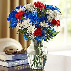 Fresh-Cut Patriotic Bouquet in Glass Vase