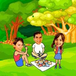 Your Photo in a Family Picnic Caricature