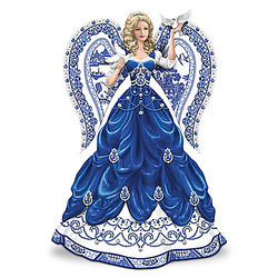 Blue Willow China Inspired Angel Figurine with Swarovski Crystals
