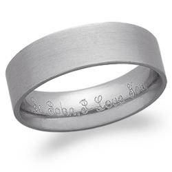 Men's Stainless Steel Engraved Message Ring