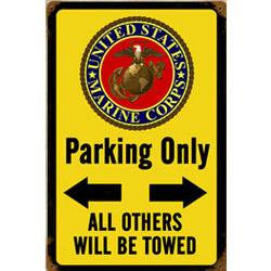 Marine Corps Parking Yellow Metal Sign