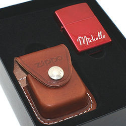 Candy Series Lighter and Leather Pouch Gift Set